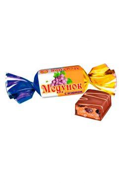 Мягкая карамель с изюмом в шоколаде Медунок