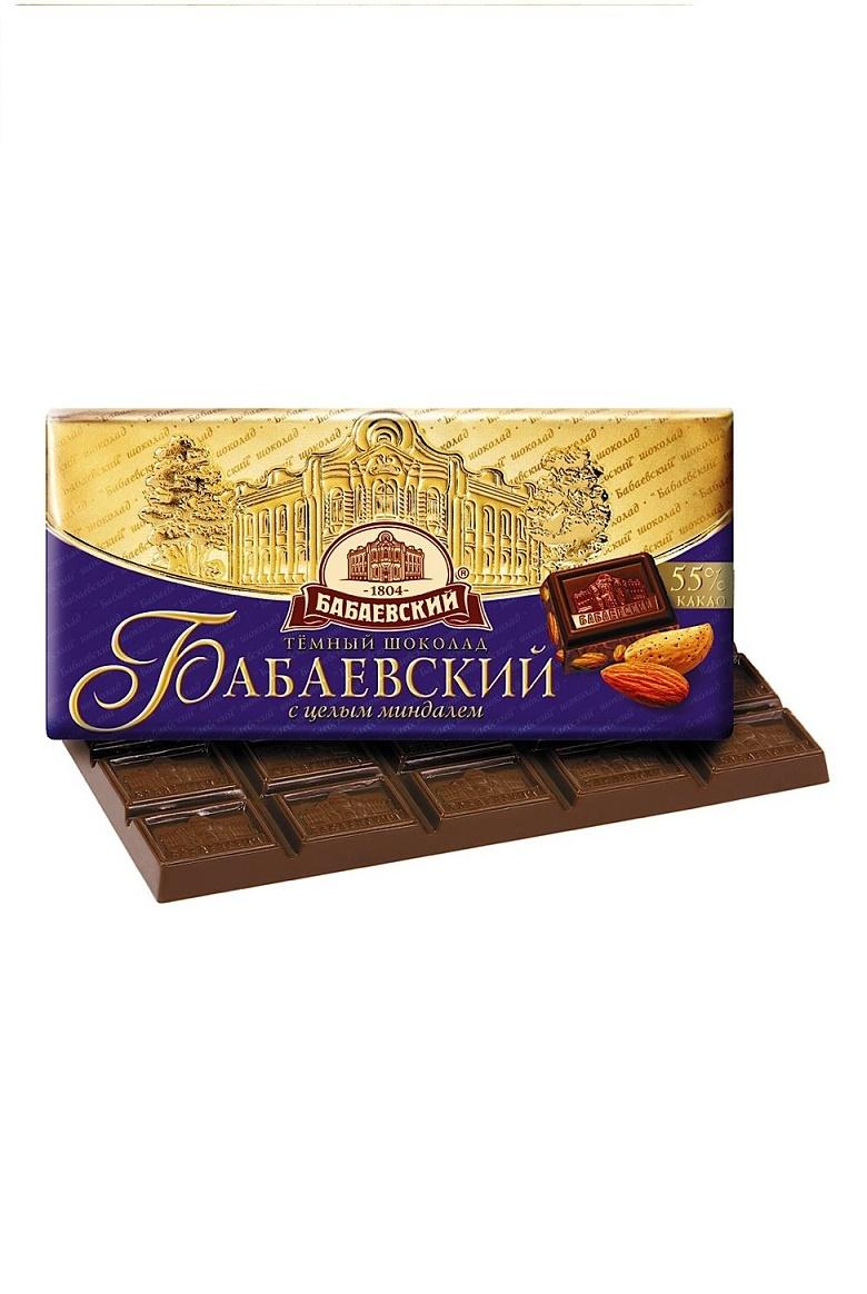 Temna čokolada Babajevskij z mandlji, 100g, Rusija z dostavo v Sloveniji