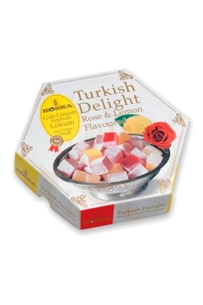 Turški lokum z okusom limone in vrtnice, 250g. z dostavo v Sloveniji