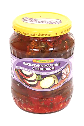 Жареные баклажаны с чесноком, 640г. с доставкой по Словении