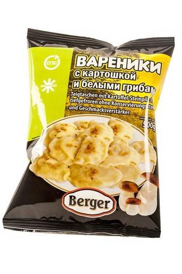 Вареники с картошкой и белыми грибами, 500г. с доставкой по Словении
