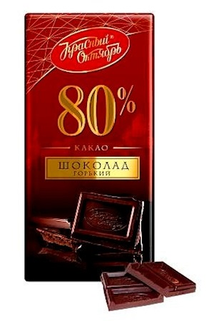 Шоколад Красный Октябрь, 80% какао,  горький, 75г. с доставкой по Словении