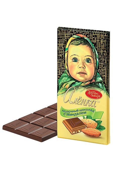 Молочный шоколад Аленка с миндалем, Россия,  100г. с доставкой по Словении