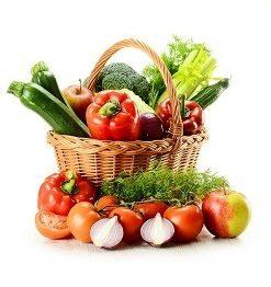 Свежая зелень, овощи, фрукты