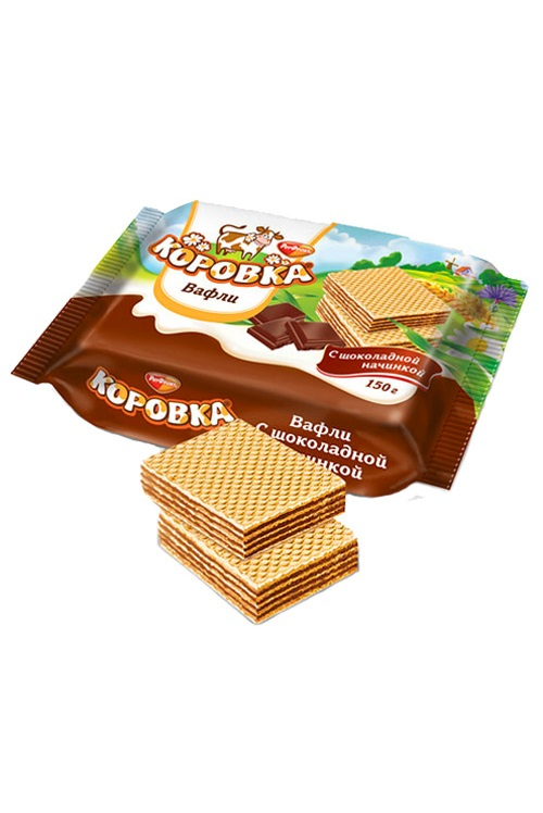 Вафли Коровка с шоколадной начинкой, Рот Фронт, 150г. с доставкой по Словении