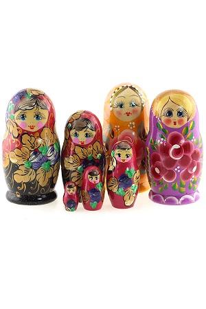 Матрешка ассорти, обычная, 5 кукол, Россия с доставкой по Словении