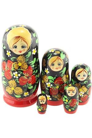 Matrjoška (Babuška) srednja, 5 lutk, stilj Hohloma, Rusija z dostavo v Sloveniji