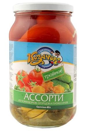 Ассорти помидоры, огурцы, патиссоны, 860г. с доставкой по Словении