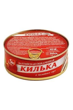 Baltijska pražena Kiljka (Sprats) v paradižnikovi omaki, 240g. z dostavo v Sloveniji