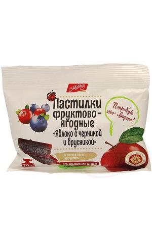 Пастилки фруктово-ягодные Яблоко с черникой и брусникой, без сахара с доставкой по Словении