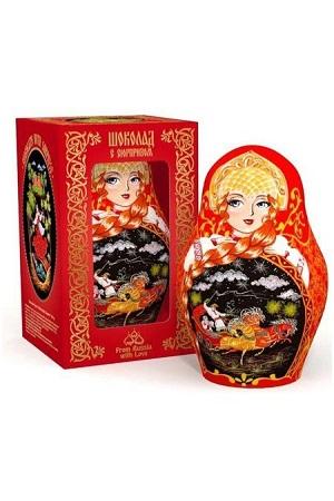 Čokoladna figura Matrješka z darilom 100g. Rusija z dostavo v Sloveniji