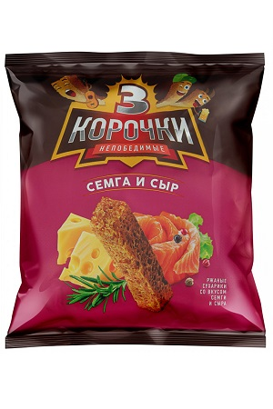 Krekerji z okusom lososa s sirom 3 koročki, 40g. Rusija z dostavo v Sloveniji
