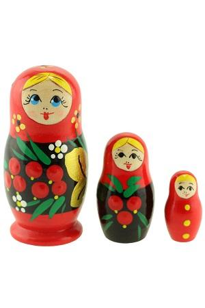 Matrjoška klasična Rjabinka, 3 lutke, Rusija z dostavo v Sloveniji