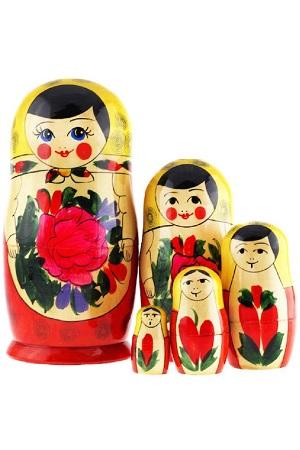 Матрешка Семеновская желтый платок 5 кукол, Россия с доставкой по Словении
