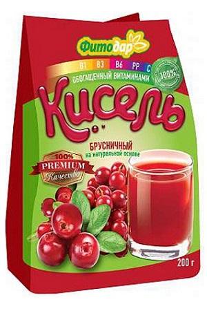 Kiselj Brusnični na naravni osnovi z vitamini, 200g Rusija z dostavo v Sloveniji